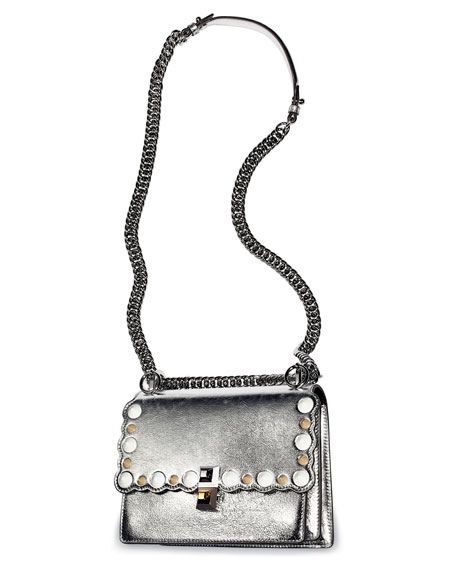 Kan I Mini Scalloped Studded Chain Shoulder Bag, Gray