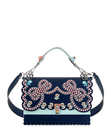 Fendi Kan I Studded Bows Top-Handle Shoulder Bag,