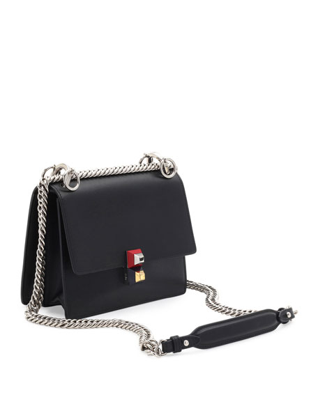 Kan I Mini Leather Chain Shoulder Bag, Black