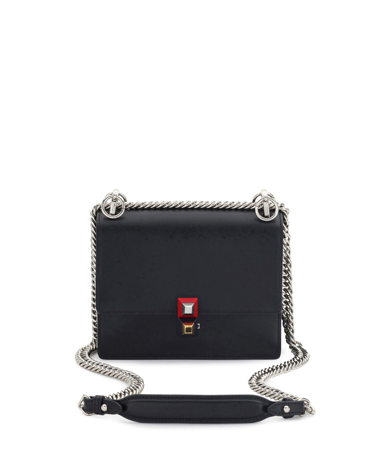 2d8d6cb6859f Fendi Kan I Mini Leather Chain Shoulder Bag
