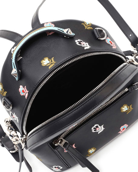 Zaino Mini Floral-Embroidered Backpack, Black