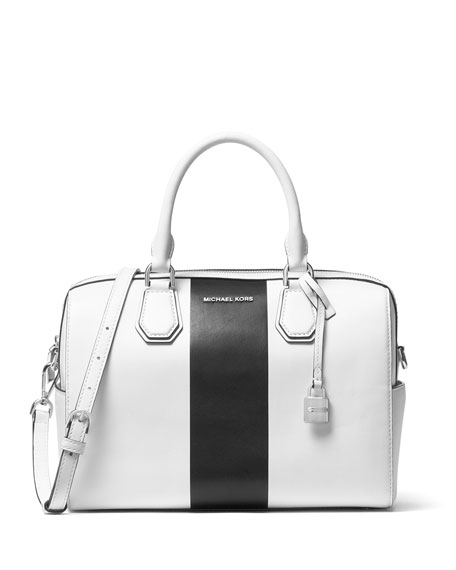 3623ebc90b293f MICHAEL Michael Kors Mercer Medium Striped Duffel Bag, White/Black | Neiman  Marcus