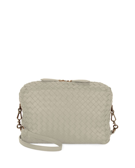 Bottega Veneta Small Intrecciato Camera Bag, Gray