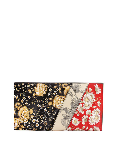 Embroidered Flower Ruffle Clutch Bag, Red/Multi