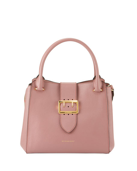 Buckle Medium Leather Tote Bag, Pink
