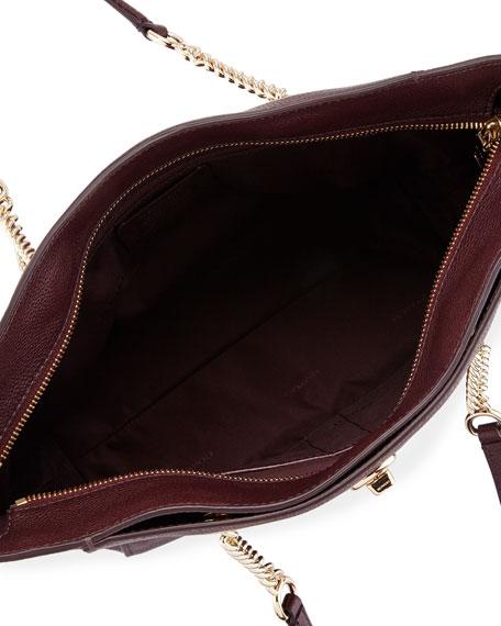 27 Turnlock Chain Tote Bag, Oxblood