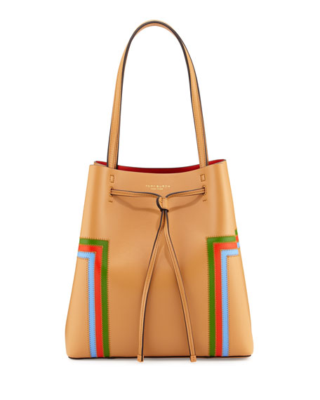 Tory Burch Block-T Striped Drawstring Tote Bag