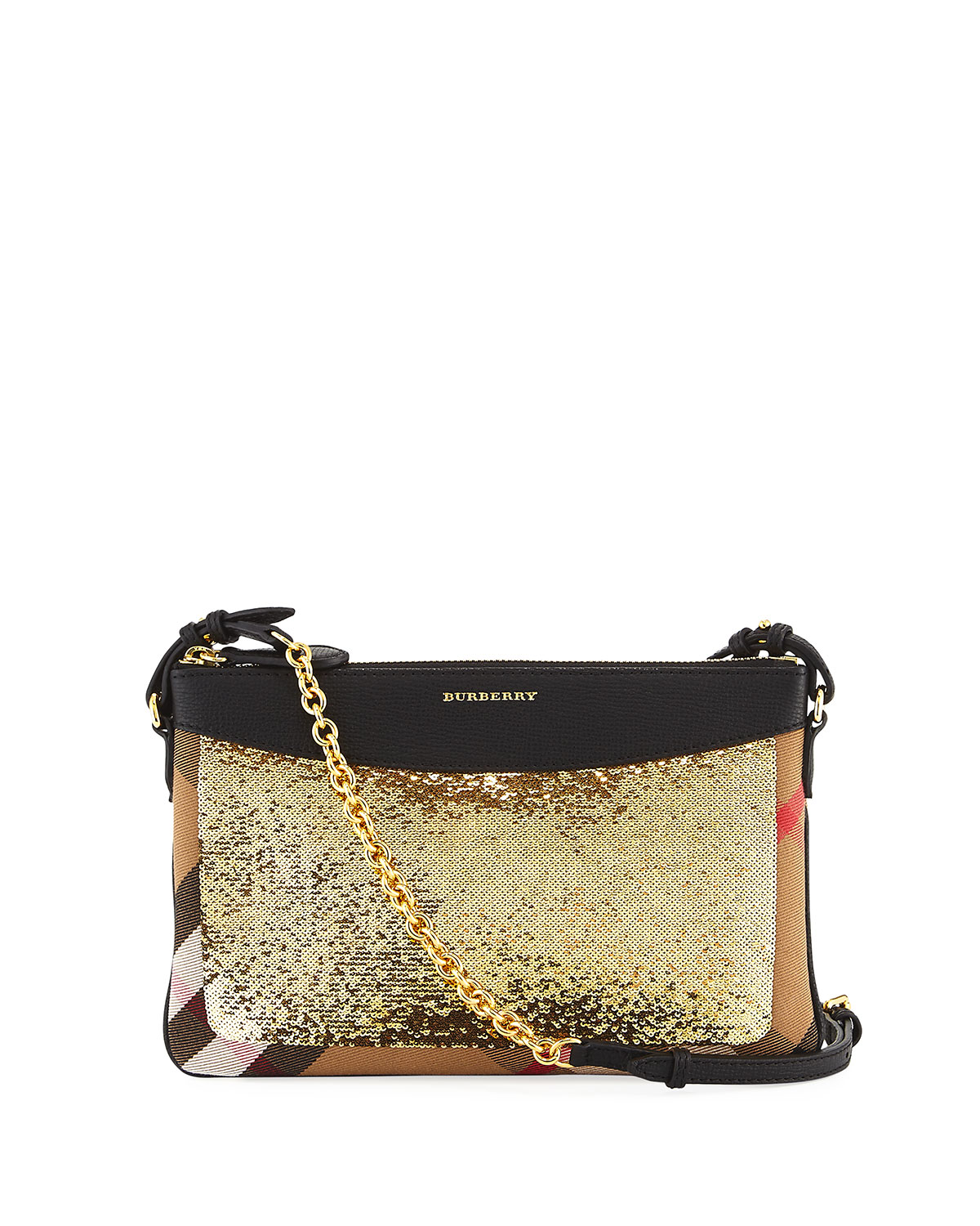 Burberry Peyton Sequined Horseferry Check Pouch Bag   Neiman Marcus 5f64d19c02