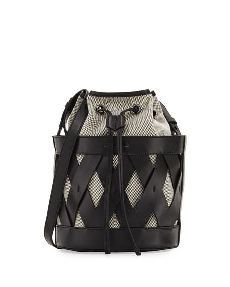 Kendall Kylie Mia Caged Leather Bucket Bag Black Multi Neiman Marcus