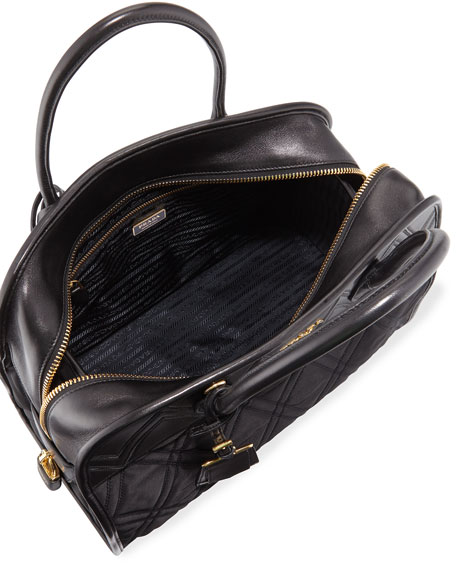 Greca Large Quilted Nylon & Leather Dome Shoulder Bag, Black