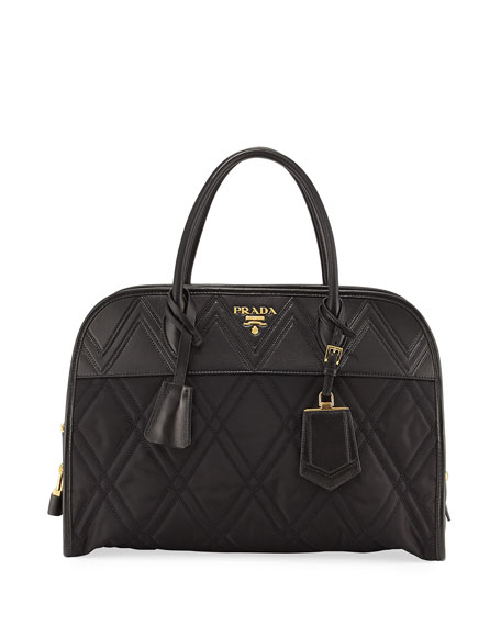 Prada Greca Large Quilted Nylon & Leather Dome