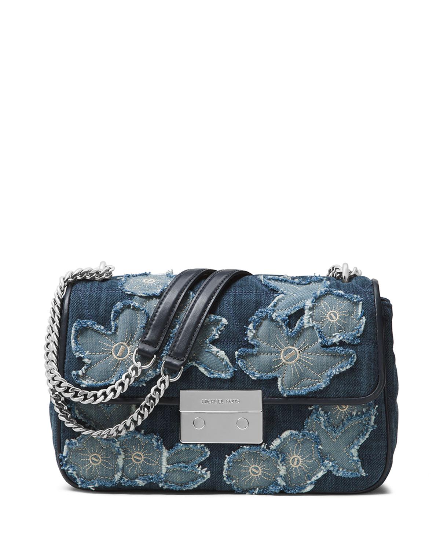 6fc602eba44d MICHAEL Michael Kors Sloan Large Floral Denim Shoulder Bag
