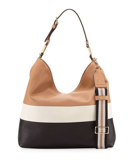 Tory Burch Duet Striped Leather Hobo Bag