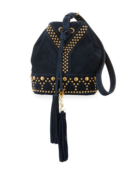Small Y Studded Suede Tassel Bucket Bag, Navy