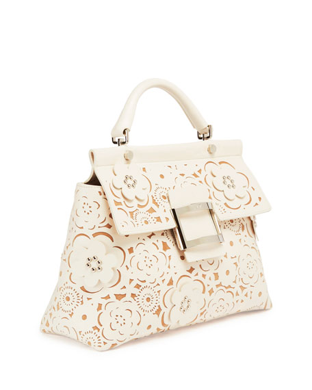 Viv Cabas Small Floral Top-Handle Satchel Bag, White