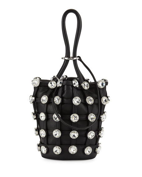 Roxy Mini Studded Leather Bucket Bag, Black