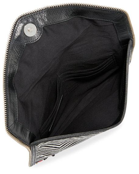 Wonder Leo Embroidered Envelope Clutch Bag