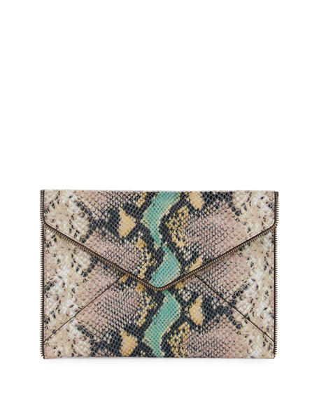 Rebecca Minkoff Leo Python-Embossed Envelope Clutch Bag