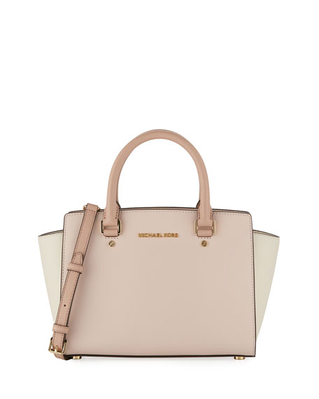Selma Medium Colorblock Saffiano Tote Bag