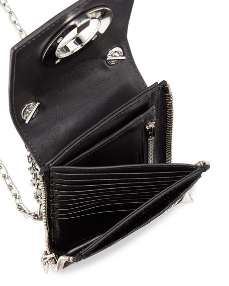 Riot Crocodile-Embossed Shoulder Wallet, Black