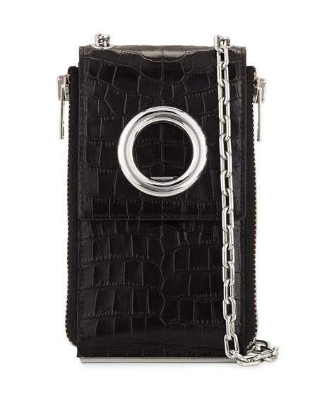 Riot Crocodile-Embossed Shoulder Wallet, Black