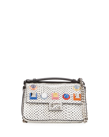 Fendi Baguette Micro Double-Sided Studded Snakeskin & Leather