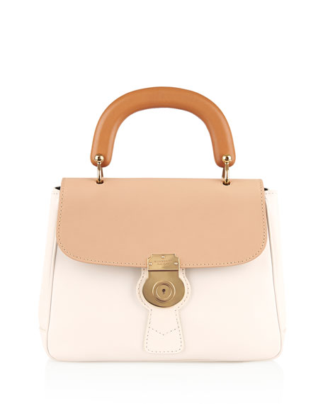 Trench Large Colorblock Leather Top-Handle Satchel Bag, Ivory