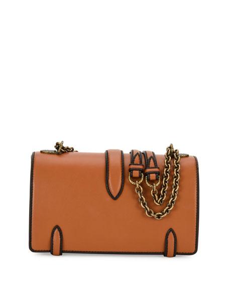 Leather Outline City Knot Shoulder Bag, Tan