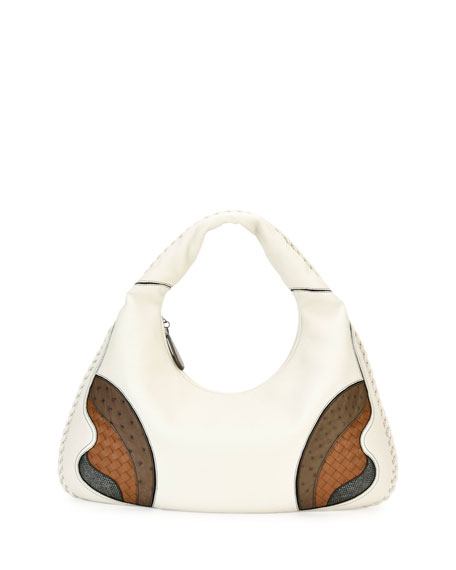 Bottega Veneta Veneta Patchwork Large Hobo Bag, White/Brown