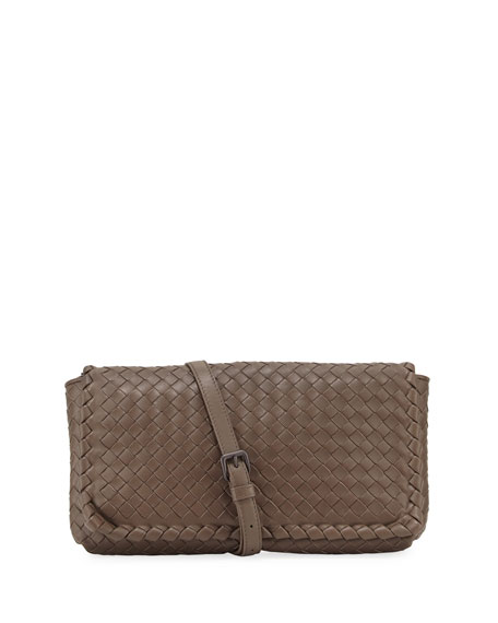 Bottega Veneta Medium Intrecciato Flap Clutch Bag w/Strap,
