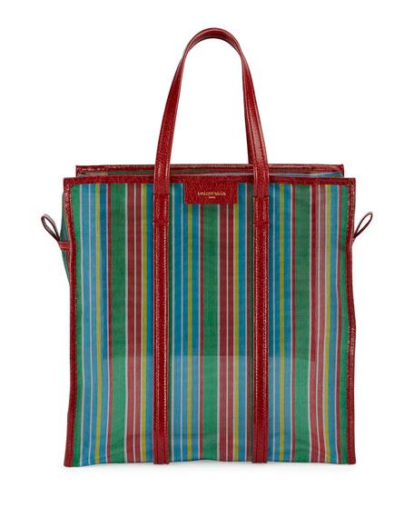Balenciaga Bazar Medium AJ Mesh Striped Shopper Tote