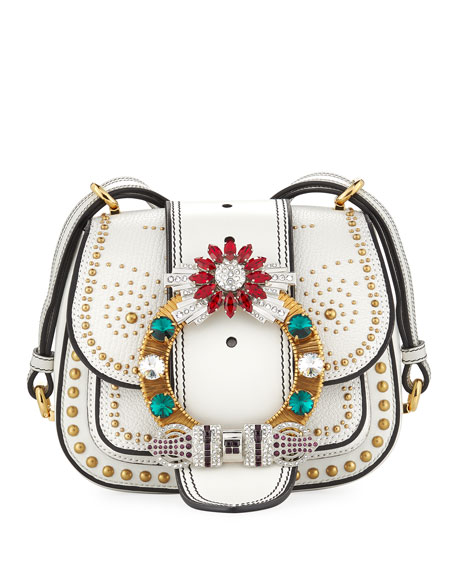 Miu Miu Embellished Lady Saddle Bag