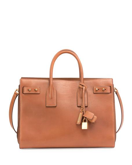 Saint Laurent Sac de Jour Medium Supple Leather Bag, Cognac
