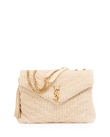 Saint Laurent Medium Soft Raffia Chain Shoulder Bag Light