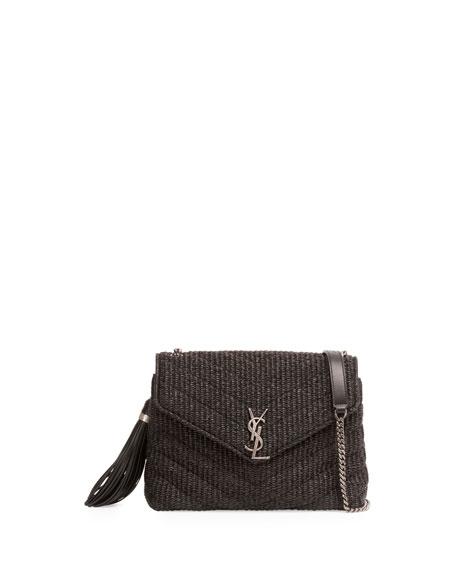 Small Raffia Chain Shoulder Bag, Black