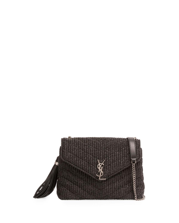 e713016681 Saint Laurent Small Raffia Chain Shoulder Bag