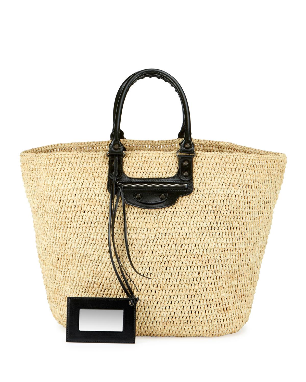 9abaa3822010 Balenciaga Panier Large Leather & Raffia Tote Bag | Neiman Marcus