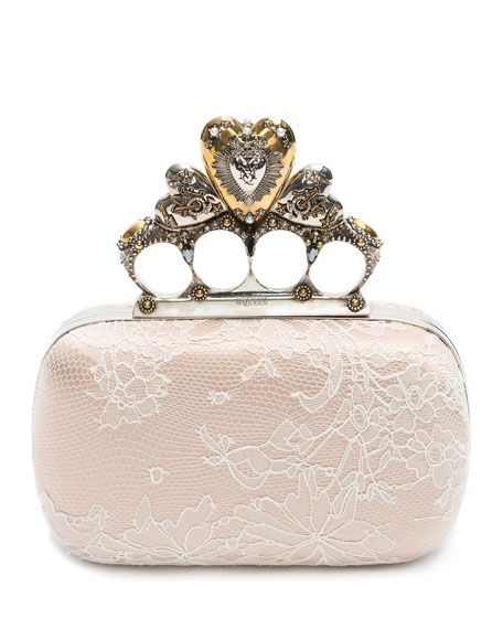 Heart Knuckle Short Box Clutch Bag, Multi