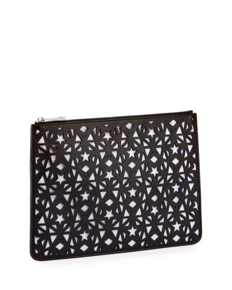 Pandora Star-Cut Leather Medium Pouch, Black/White