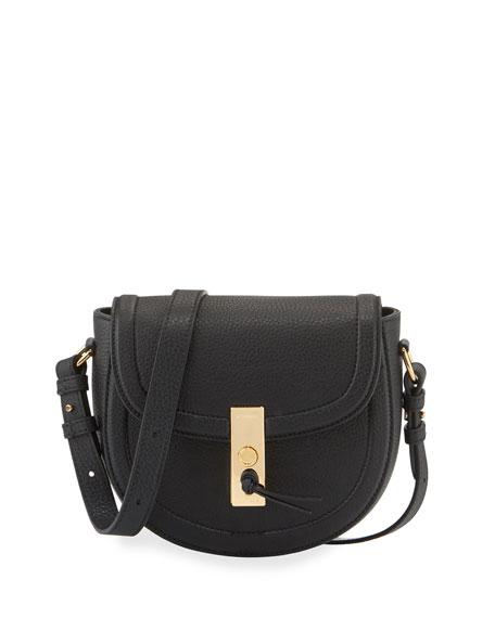 Altuzarra Ghianda Mini Woven Suede Saddle Bag, Black