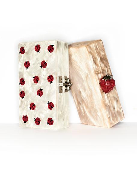 Jean Ladybug Box Clutch Bag, White