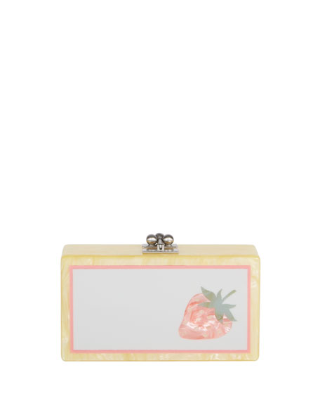Edie Parker Jean Strawberry Acrylic Clutch Bag, Gold