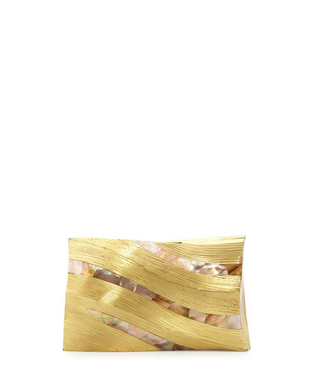 Bilbao Architectural Shell Minaudiere, Gold