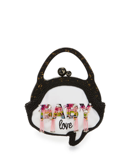 Baby Love Beaded Speech Bubble Bag, Pink