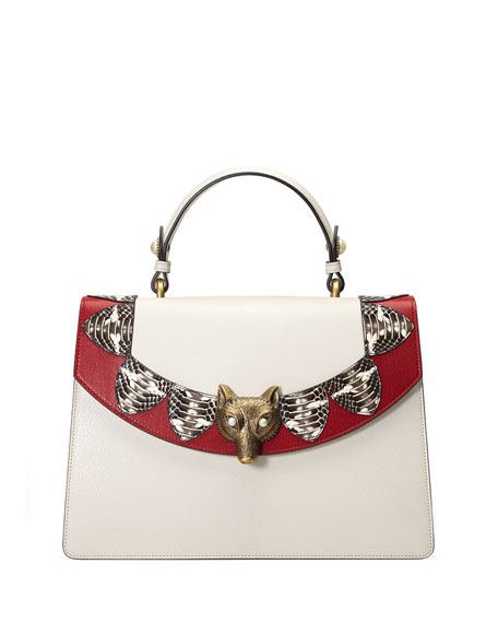 Gucci Broche Loved Top-Handle Satchel Bag, White/Red