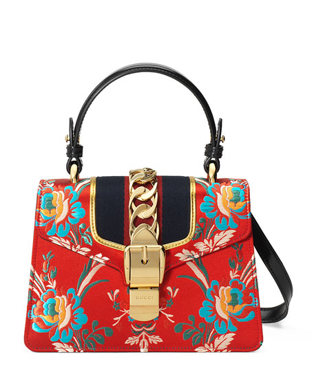 Gucci Sylvie Mini Brocade Top-Handle Bag