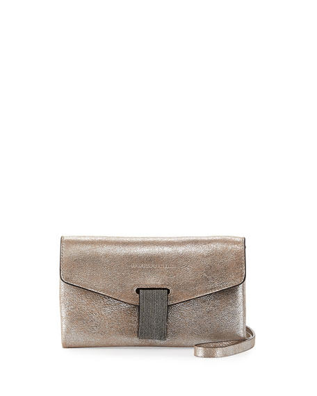 Brunello Cucinelli Metallic Leather Monili Clutch Bag/Wallet on