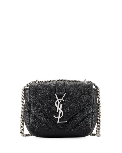 Monogram Micro Metallic Quilted Crossbody Bag, Black