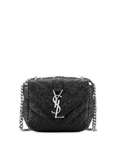 Monogram Micro Metallic Quilted Crossbody Bag, Black