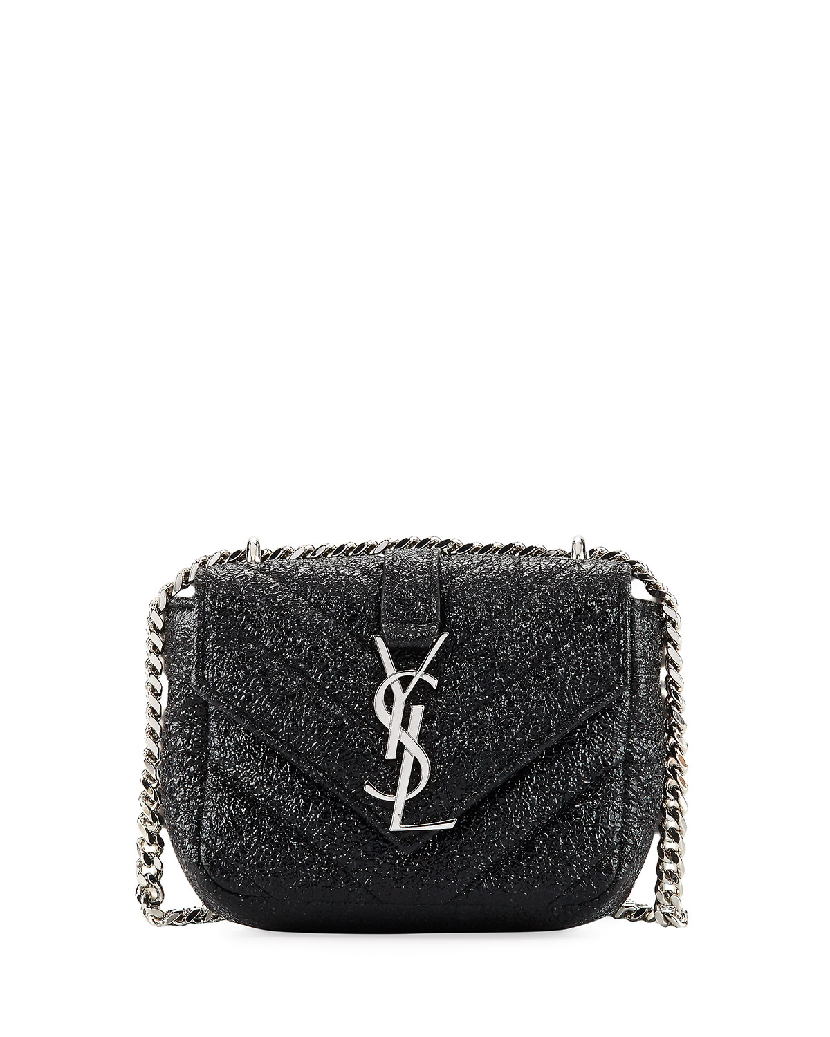 Saint Laurent Monogram Micro Metallic Quilted Crossbody Bag Black